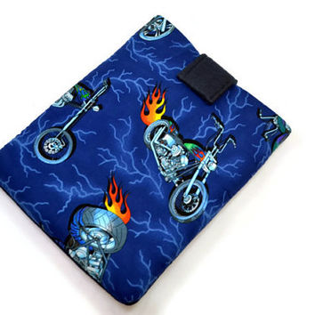 Hand Crafted Tablet Case from Motocycle Cotton Fabric/ Tablet Case for iPad, Kindle Fire HD, Samsung Galaxy, Nook HD, Google Nexus,