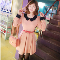 Peter Pan Collar Long Sleeve Dress