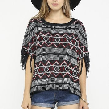 Patterned Poncho With Fringe