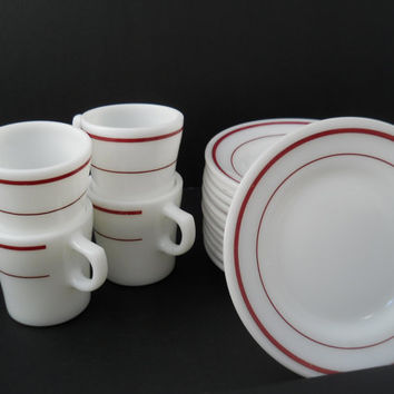 Restaurant Ware Red Stripe Fire-King 350 Cups & Small Plates Anchor Hocking Mid Century