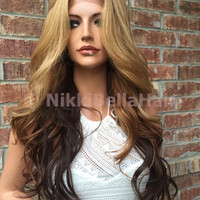 """Honey Butter Chocolate Ombre Loose Wave Human Hair Blend Multi Parting Lace Wig 24"""" 1104"""