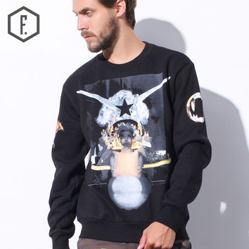 Print Round-neck Winter Abstract Pattern Pullover Long Sleeve Hoodies [8822223875]