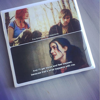 Eternal Sunshine Of The Spotless Mind Ceramic Drink Tile Coaster; House Decor; House Warming Gift; Movie Quotes; Jim Carey; Kate Winslet;