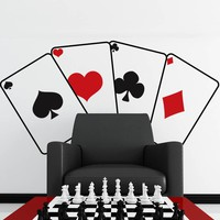 Poker Cards Vinyl Wall Decal #JH280