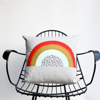 Follow the Rainbow - hand printed, organic pillow