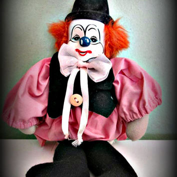 Vintage Collectible Porcelain/China Clown Doll, Clown Figurine, Collectible doll, Home Decor