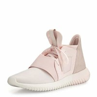 Tubular Defiant Jersey & Suede Trainer, Halo Pink
