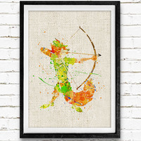 Robin Hood, Disney, Watercolor Print, Baby Nursery Room Art, Home Decor, Not Framed, Buy 2 Get 1 Free!