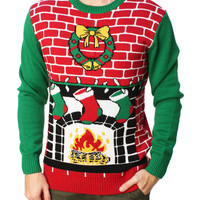 Ugly Christmas Sweater Men's Fireplace Is Lit Light Up Sweater