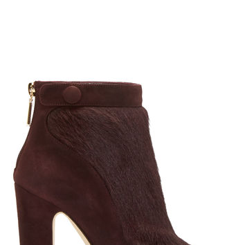 Dolce And Gabbana Plum Suede And Calf-hair Ankle Boots