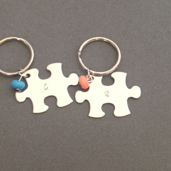 Initial Key Chains, Birthstone Keychains, Couples Keychains, Puzzle Pieces, COuples Set, Stocking Stuffer, Christmas GIft, Couples Gift