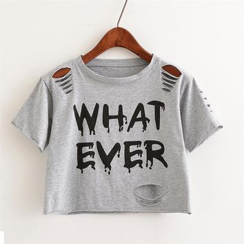 What Ever Print Hollow Out Crop Top Shirt