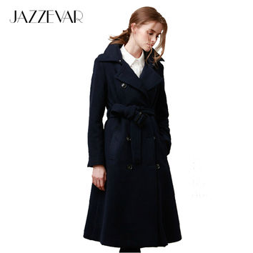 JAZZEVAR autumn winter high fashion street Women's navy Wool blend trench coat Outerwear X-Long Winter Jackets brand style