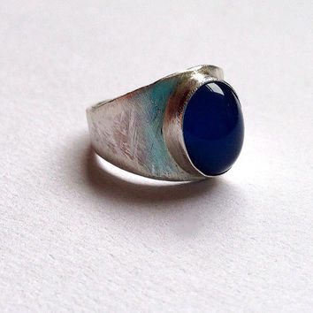 Sterling Silver Large Gemstone Ring - Tapered Wide Band - Chunky - Lapis - Rose Quartz - Onyx - Citrine -Amethyst