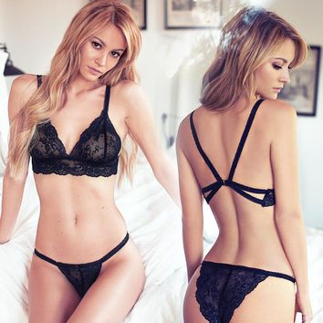 Underwear Lace Bra Sexy Hollow Out Spaghetti Strap Stylish Set [10239005571]
