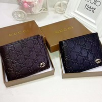 """Gucci"" Men Purse Simple Fashion Classic Double G Letter Embossed Solid Color Short Section Fold Wallet"