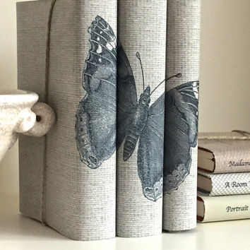 Decorative books - Gray books - Butterfly - Custom book covers - Interior Design - Custom book jackets - Book Cover Art - Bookcase Decor -