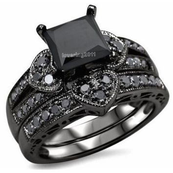 10KT Black Gold Filled Princess Cut Black Stone 5A Zircon Wedding Ring Set