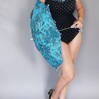 Vintage 1980s does 50s Black and Teal Blue Polka dot One Piece Swimsuit Size Medium Bathing Suit Pin Up Girl 50s Style Rockabilly Dunk-is