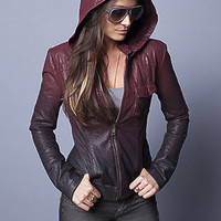 Ombre Leather Moto Jacket w/Removable Hood