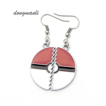 Brand New Alloy  Pocket Monster Pokeball Laser Cut Earrings Cartoon Pocket Monster kawaii Charm Women  Gift jewelry accessories