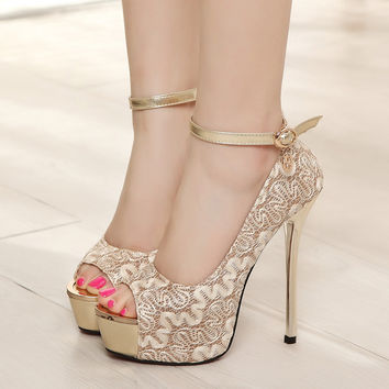 Beautiful Lace Open Toe Pump High Heels