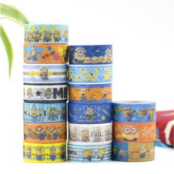 15MM*5M Kawaii Minions Paper Masking Tape Scrapbooking Decorative Washi Tape Diary Notebook Album DIY Craft