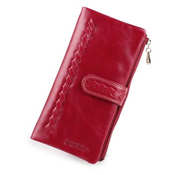 2017 NEW Genuine Cow Leather Wallet Women Long Cowhide Leather Zipper Female Woven Design Purse Ladies Clutch Card Phone Holder