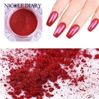 NICOLE DIARY Mirror Red Nail Glitter Powder Nail Art Dust Chrome Pigment Manicure Tips Decoration
