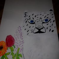 White Snow Leopard with Blue Eyes Orange and Red Flowers Mixed Media Painting