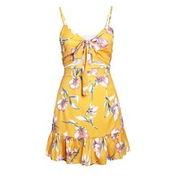 Yellow Floral Print Tie Front Bralette and A-line Mini Skirt Set