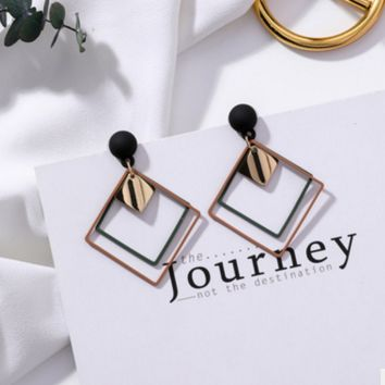 Frosted square double geometry earrings