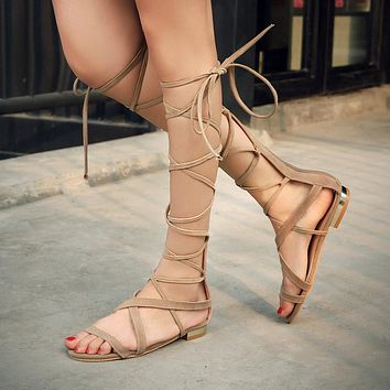 FAUX SUEDE GLADIATOR KNEE HIGH SANDALS