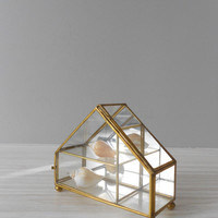 brass glass house trinket jewelry box // mirror // geometric curio cabinet display
