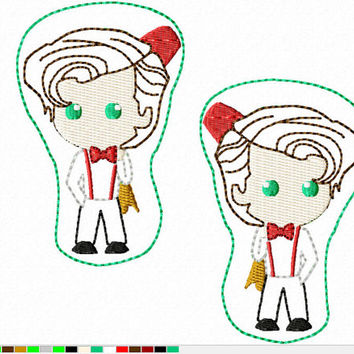 DIGITAL FILE 11th D-octor Who felt clippies 4x4 5x7 ITH Machine Embroidery Design download clips felties tennant
