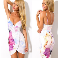 Women's Fashion Sexy V-neck Sleeveless Backless Floral Print Bodycon Bandage Clubwear Party Mini Dress = 5738872065