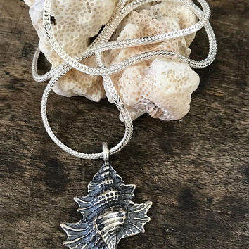 Silver Shell Necklace, Beach Boho Jewelry, Summer Jewelry, Beach Wedding, Sterling Silver Necklace, Sea Shell Pendant, twosilversisters