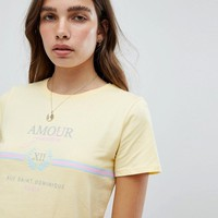 New Look Amour Lemon Slogan T-Shirt at asos.com