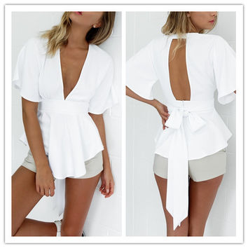 Fashion Simple Female Solid Color Back Hollow Bow Strappy Frills Deep V Middle Sleeve Mini Dress Tops