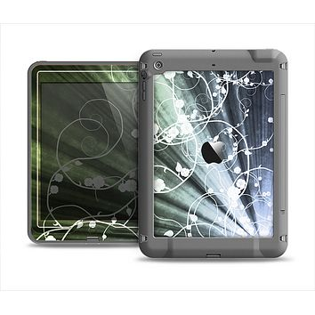 The Green and White Light Arrays with Glowing Vines Apple iPad Air LifeProof Nuud Case Skin Set