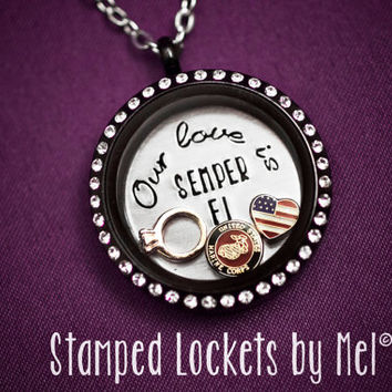 Our love is SEMPER FI - Hand Stamped Stainless Steel Locket - Marine Wife Necklace - Floating Memory Jewelry - Devil Dog's Girlfriend