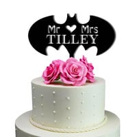 Personalized Cake Toppers Mr Heart Mrs Batman Wedding Cake Toppers Personalized With Last Name