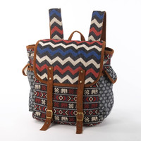 Wide Open Backpack, Diaper  Bag/ Chevrons Tapestry and Tribal Elephant Print/ Canvas Bag, Diaper Backpack, Holiday Backpack/