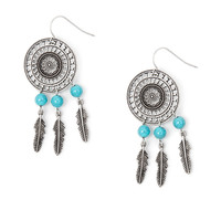 Floral Disc Drop Earrings with Turquoise Beads and Feathers