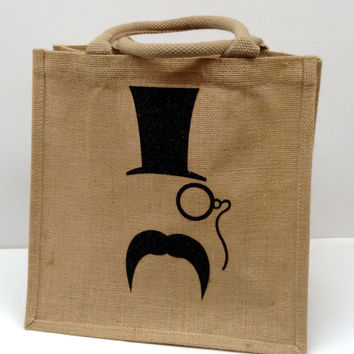Tote, gift bag - Something about a mustache & tophat!  - Custom made jute tote.