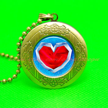 legend of zelda necklace locket,zelda heart container pendant necklace locket ,  girlfriend boyfriend gift