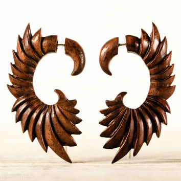 Fake Gauge Earrings Wooden Wings Tribal Earrings - Gauges Fake Plugs Dangle Earrings - FG090 W G1