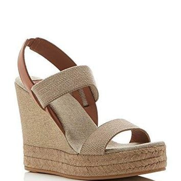 Tory Burch Two Band Slingback Espadrille Wedges Sandals Gold / Royal Tan