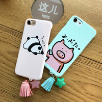 Luxury Tassel Pendant Cartoon Animal Pandas Pig Case For iphone 7 Case For iphone7 7Plus Phone Cases Cover Hard Coque -0405