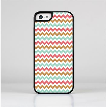 The Vintage Brown-Teal-Pink Chevron Pattern Skin-Sert Case for the Apple iPhone 5c